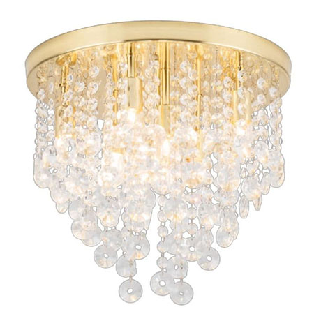 Revive Brass 9 Light Round Flush Bathroom Ceiling Light