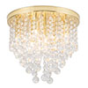 Revive Brass 9 Light Round Flush Bathroom Ceiling Light profile small image view 1