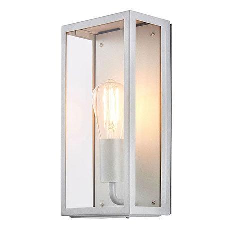 Revive Outdoor Satin Silver Box Lantern