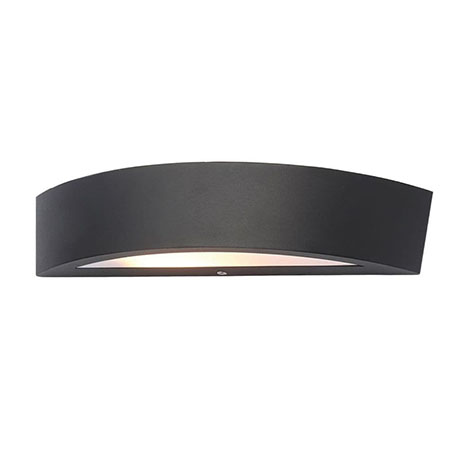 Revive Outdoor Black Curved LED Up & Down Wall Light