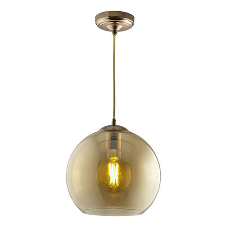 Revive Globe 30cm Amber Glass Ceiling Pendant