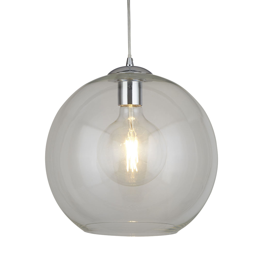Revive Clear Glass Ball Pendant Ceiling Light, 25cm