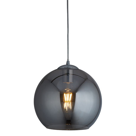 Revive Globe 30cm Smoked Glass Ceiling Pendant