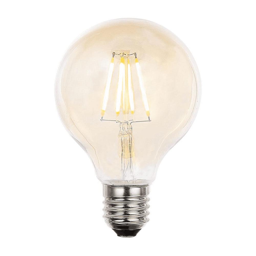 Revive Small E27 LED Filament Globe Bulb - Amber Glass
