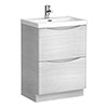Ronda White Ash 600mm Wide Floor Standing Vanity Unit Medium Image