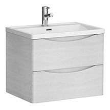 Ronda White Ash 600mm Wide Wall Mounted Vanity Unit Medium Image