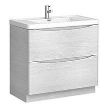 Ronda White Ash 900mm Wide Floor Standing Vanity Unit Medium Image