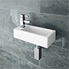 Rondo Wall Hung Small Cloakroom Basin 1TH - 365 x 180mm profile small image view 1