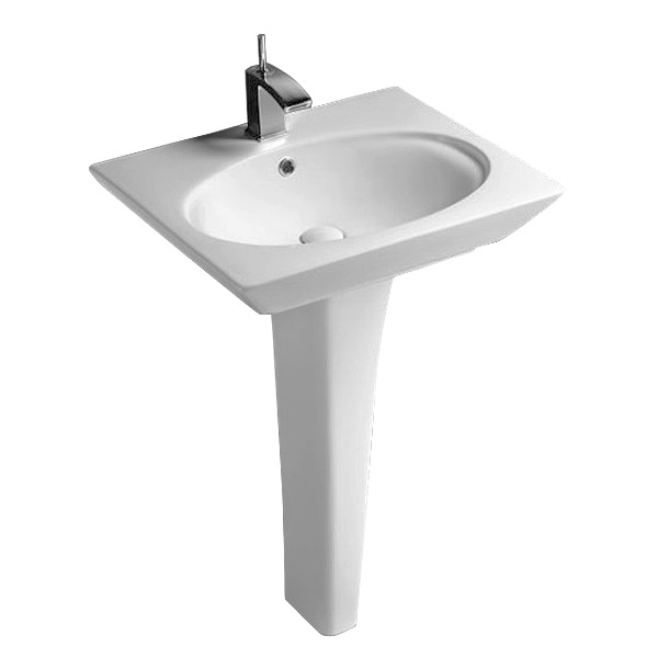Rak Opulence 58cm Her Wash Basin with Full Pedestal - 1TH - White Large Image