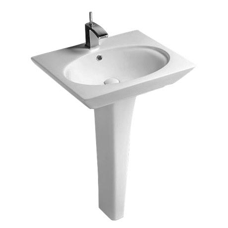 Rak Opulence 58cm Her Wash Basin with Full Pedestal - 1TH - White