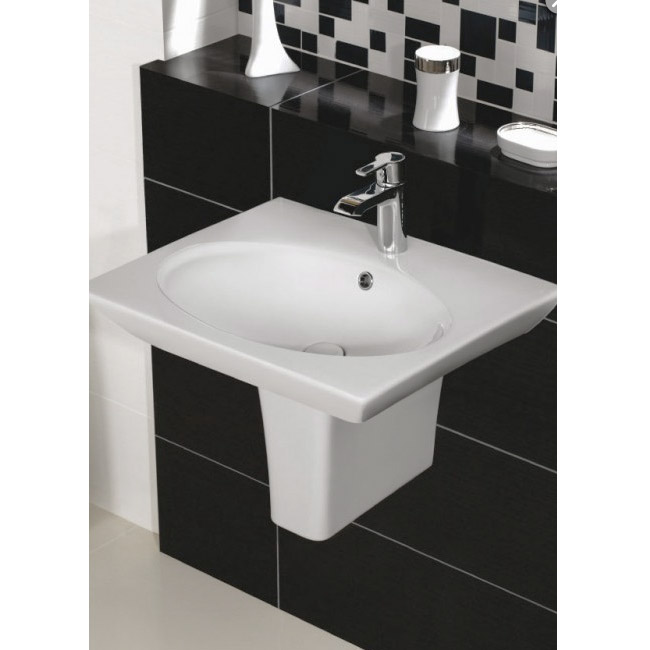 Rak Opulence 58cm Her Wash Basin with Half Pedestal - 1TH - White profile large image view 2
