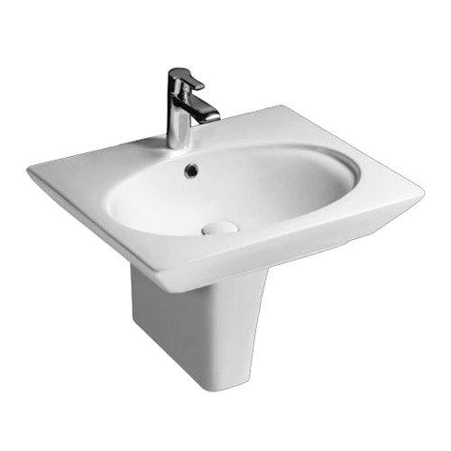 Rak Opulence 58cm Her Wash Basin with Half Pedestal - 1TH - White Large Image