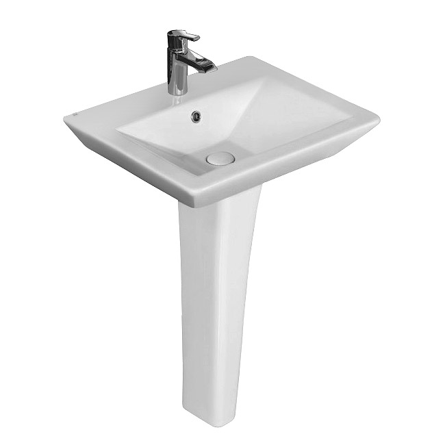 Rak Opulence 58cm His Wash Basin with Full Pedestal - 1TH - White profile large image view 1
