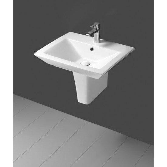 Rak Opulence 58cm His Wash Basin with Half Pedestal - 1 TH - White profile large image view 2
