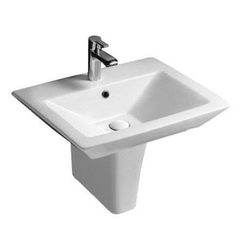 Rak Opulence 58cm His Wash Basin with Half Pedestal - 1 TH - White Large Image