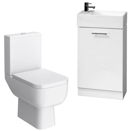 Rak Series 600 Toilet Inc. Soft Close Seat with White Compact Vanity Unit