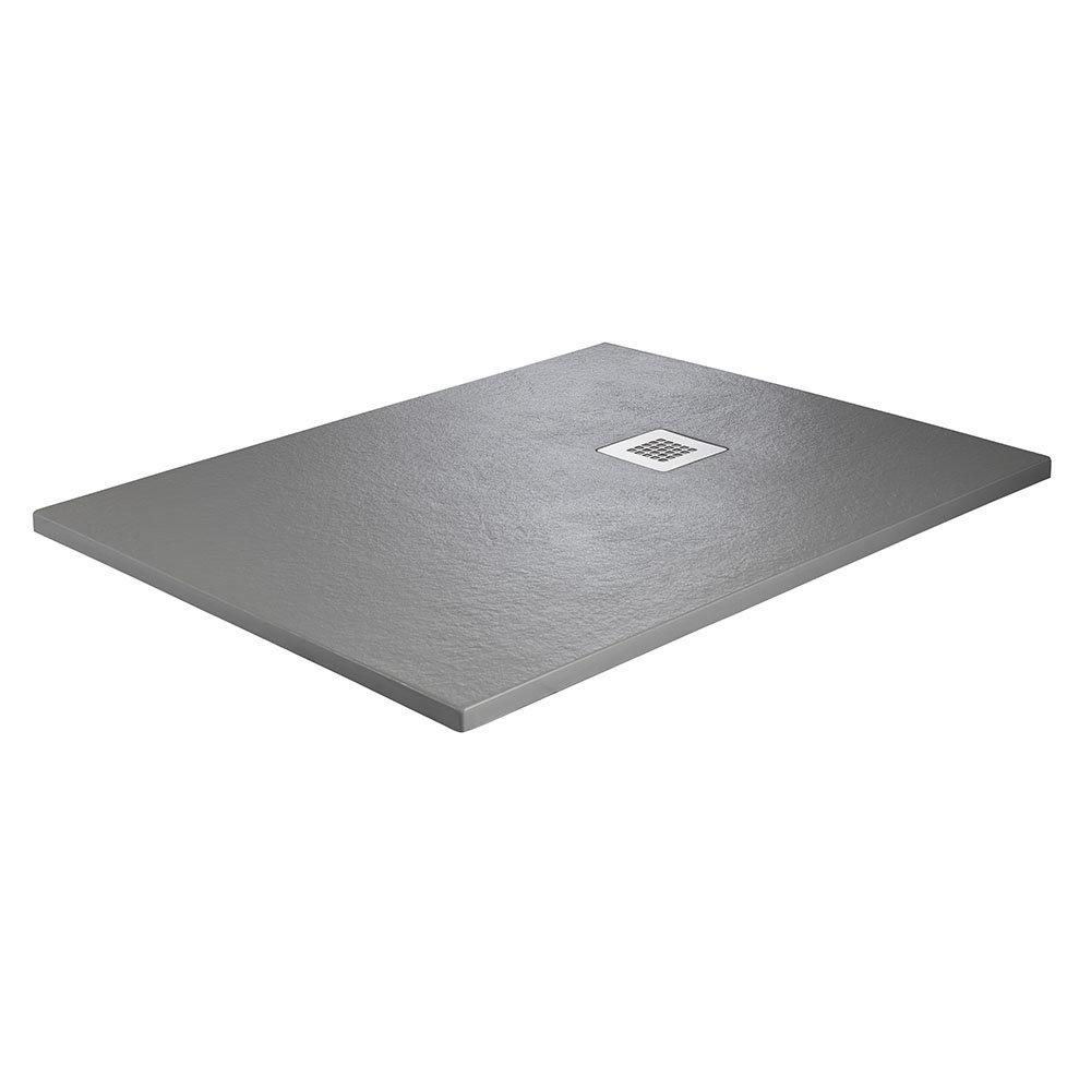Imperia 1400 x 800mm Graphite Slate Effect Rectangular Shower Tray + Chrome Waste