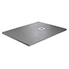 Imperia 1600 x 800mm Graphite Slate Effect Rectangular Shower Tray + Chrome Waste profile small image view 1