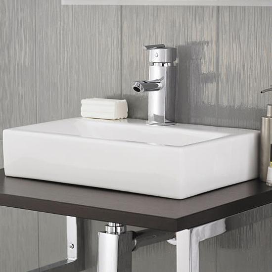 Rectangular Counter Top Ceramic Basin - 450 x 320mm profile large image view 3