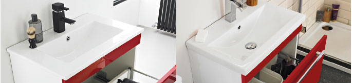 side by side comparison of the two types of available basin