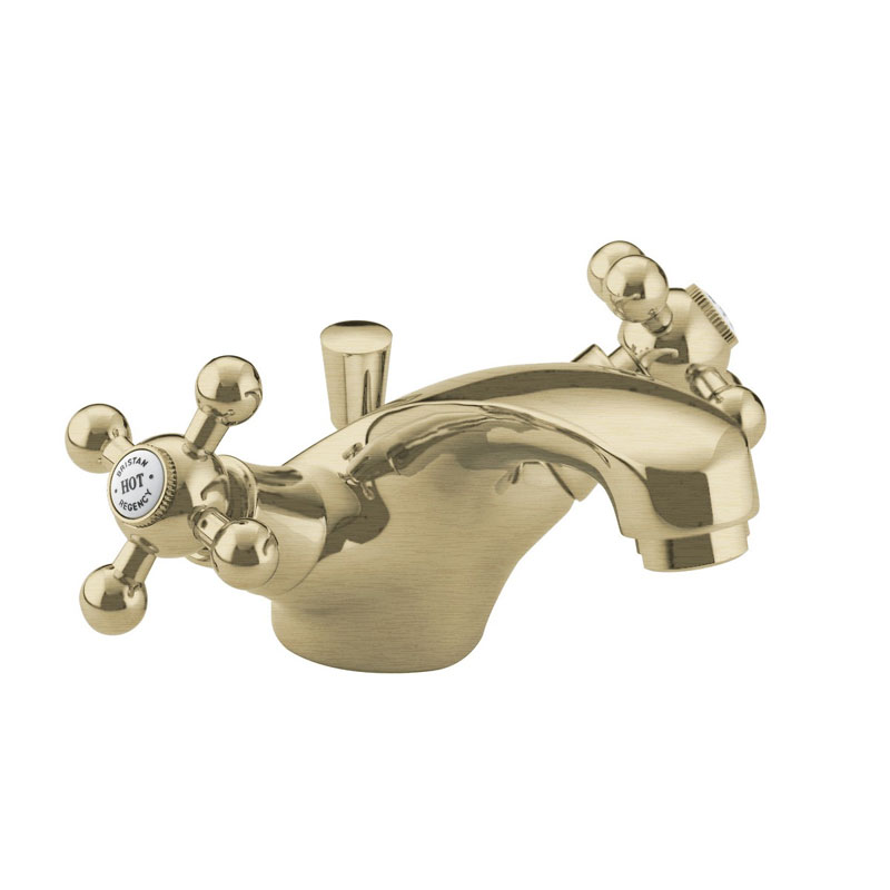 Bristan - Regency Mono Basin Mixer w/ Pop Up Waste - Gold Plated - R-BAS-G Large Image