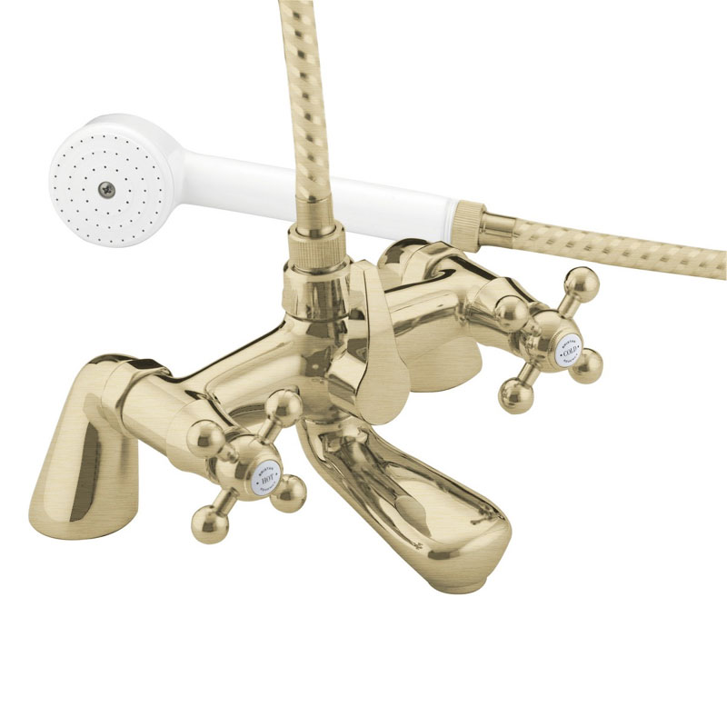 Bristan - Regency Pillar Bath Shower Mixer - Gold Plated - R-BSM-G profile large image view 1