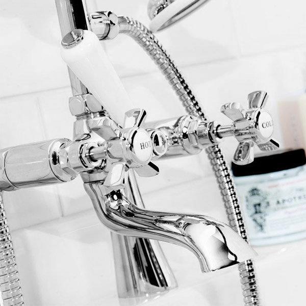 Regent Traditional Bath Shower Mixer Taps - Chrome profile large image view 2