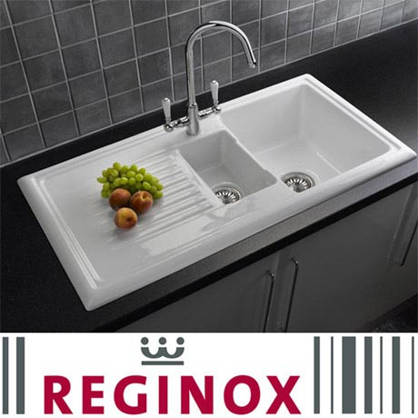 Reginox Traditional White Ceramic 1.5 Kitchen Sink and Mixer Tap