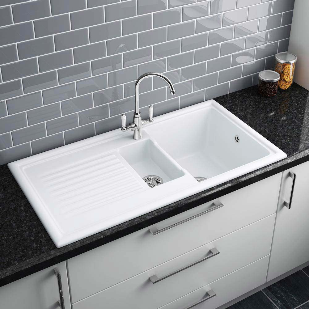 Reginox White Ceramic 1.5 Bowl Kitchen Sink - RL301CW