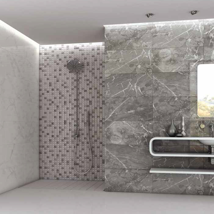 rhodes grey gloss marble effect wall tile from victorian plumbing