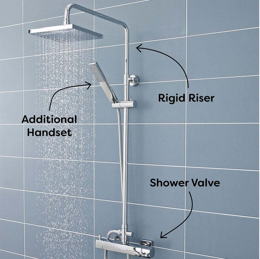 Ultra Telescopic Riser Kit with Square Shower Head Chrome - A3114