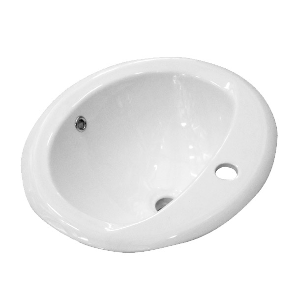 Rio Oval Inset Basin 1TH - 520 x 455mm profile large image view 2