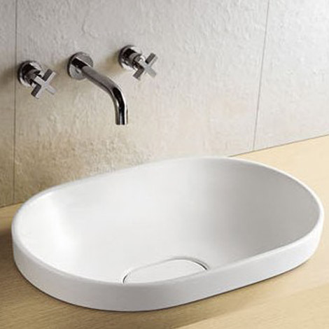 Riviera Oval Inset Basin 0TH with Ceramic Waste Cover - 590 x 400mm Large Image
