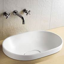 Riviera Oval Inset Basin 0TH with Ceramic Waste Cover - 590 x 400mm Medium Image
