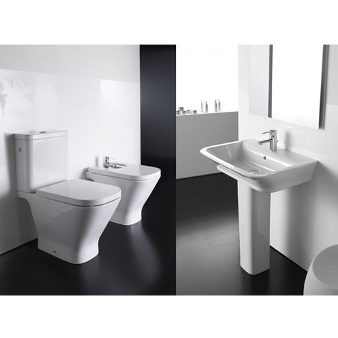 Roca - The Gap 4 Piece Bathroom Suite - close coupled WC & basin with pedestal profile large image view 3