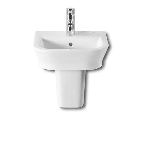 Roca - The Gap 450mm 1 tap hole cloakroom basin with semi pedestal Large Image