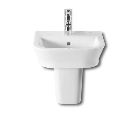 Roca - The Gap 450mm 1 tap hole cloakroom basin with semi pedestal