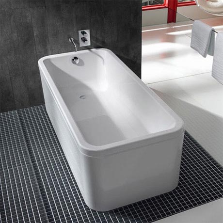 Roca 1800 x 800mm element one piece freestanding bath for Small baths 1300