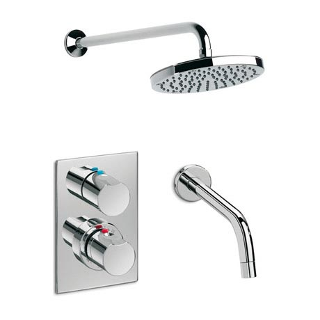 Roca Element Chrome Wall Mounted Bath Shower, Spout & Rose - 5A2862C00