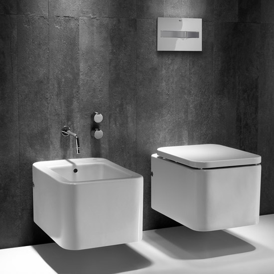 Roca - Element Wall Hung Bidet - 0 TH - 357575000 profile large image view 2