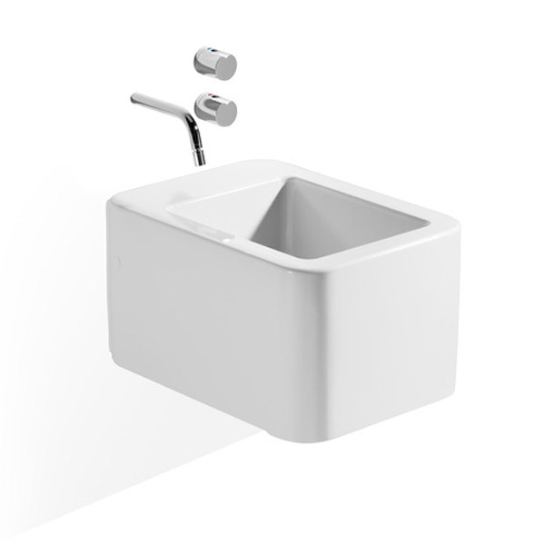 Roca - Element Wall Hung Bidet - 0 TH - 357575000 profile large image view 1