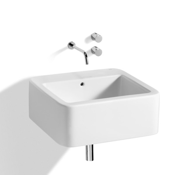 Roca - Element Wall Mounted Basin - 600mm - 2 x Tap Hole Options profile large image view 2