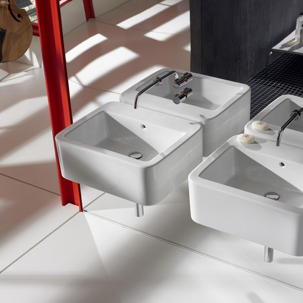Roca - Element Wall Mounted Basin - 600mm - 2 x Tap Hole Options profile large image view 3