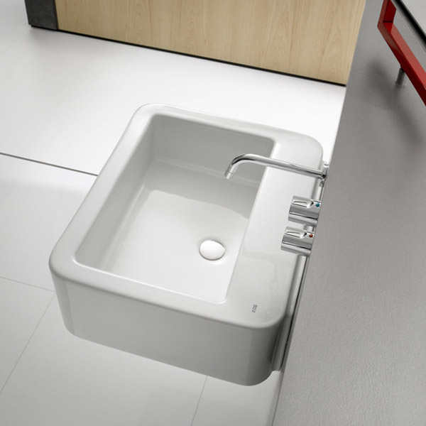 Roca - Element Wall Mounted Basin - 600mm - 2 x Tap Hole Options profile large image view 4