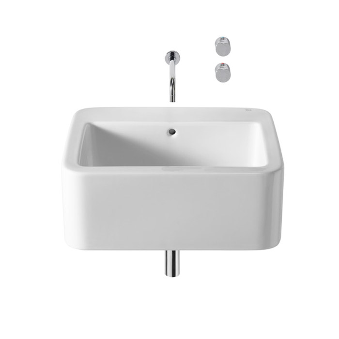 Roca - Element Wall Mounted Basin - 600mm - 2 x Tap Hole Options Large Image