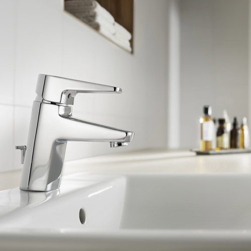 Roca Esmai Chrome Basin Mixer Tap with pop-up waste - 5A3031C00 profile large image view 2