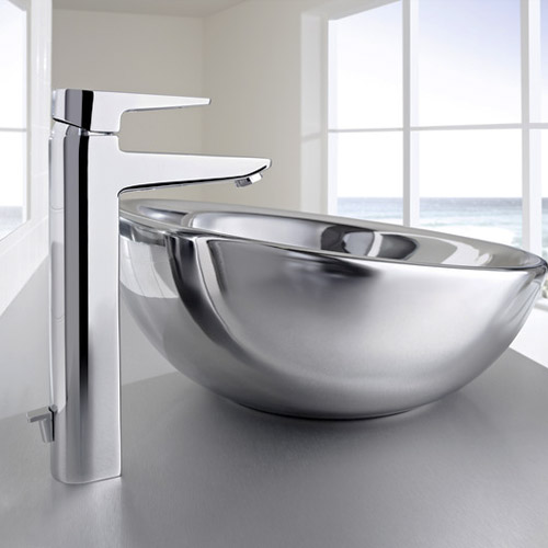 Roca Esmai Chrome Extended basin mixer with pop-up waste - 5A3431C00 profile large image view 2