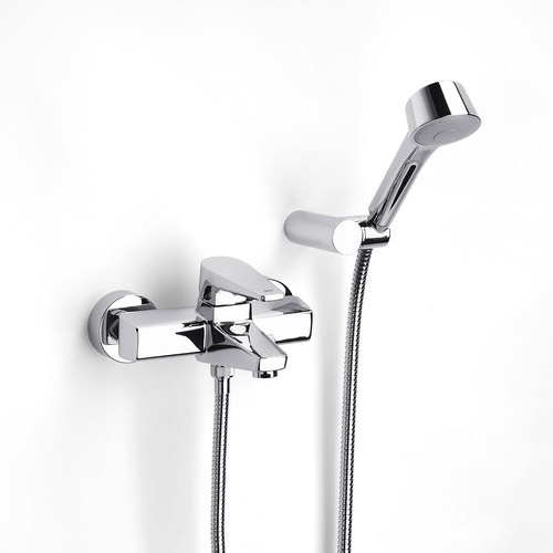 Roca Esmai Chrome Wall Mounted Bath Shower Mixer with Automatic Diverter & Handset - 5A0131C00 Large Image