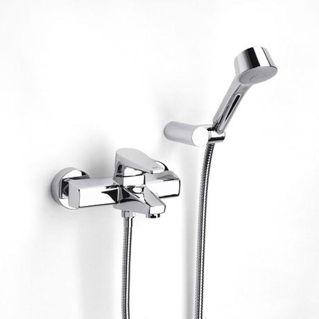 Roca Esmai Chrome Wall Mounted Bath Shower Mixer with Automatic Diverter & Handset - 5A0131C00