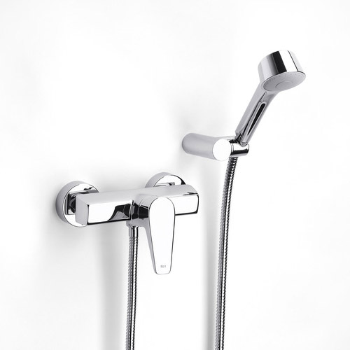 Roca Esmai Chrome Wall Mounted Shower Mixer & Handset - 5A2031C00 Large Image